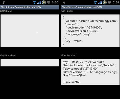 client server communication in android via json objects